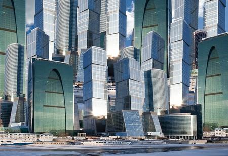 Skyscrapers. Collage photo