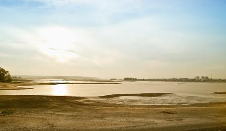 Bottom of the shallowed river the Volga