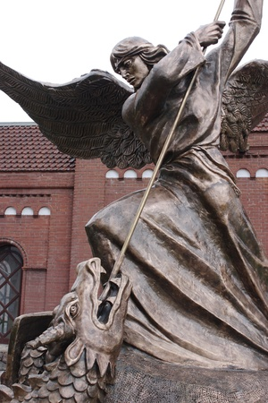 angel statue: Archangel Michael, battle with a dragon