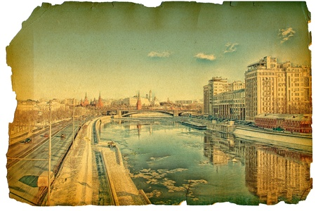 of old times: Under old times. Moscow River Stock Photo