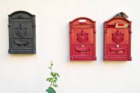 addressee: Mailboxes Stock Photo
