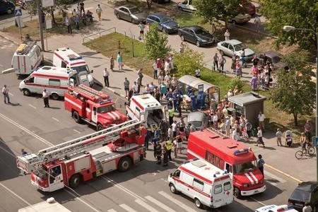 バスの停止上の人間の傷害 報道画像