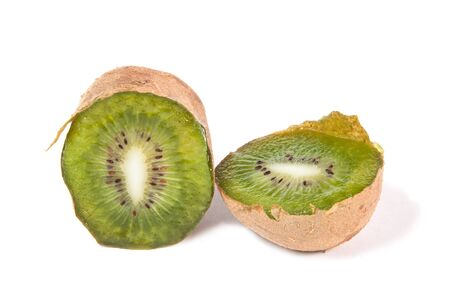 Cut fruit of kiwifruit on a white background photo