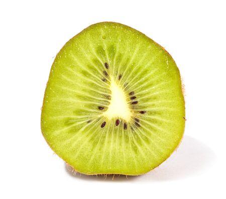 Cut fruit of kiwifruit on a white background photo
