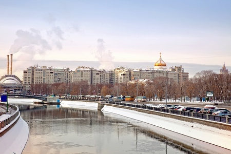 Winter landscape of city of Moscow photo