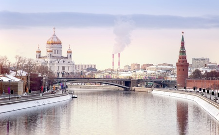Winter landscape of city of Moscow