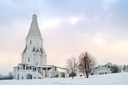 White church on a background evening sky photo