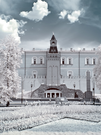 Infrared photo. Streets and area in the Moscow city
