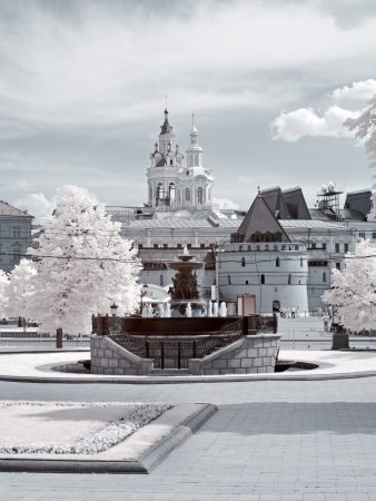 Infrared photo. Streets and area in the Moscow city photo