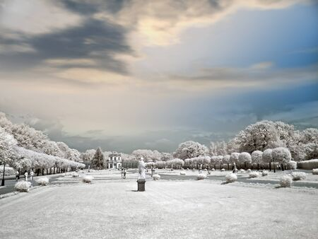 Infra-red photo. Landscape design of farmstead Kuskovo photo