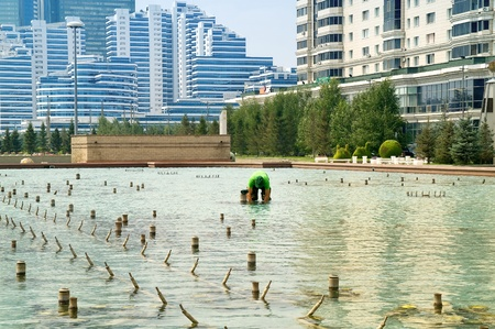 astana: Astana. Cleaning of fountain