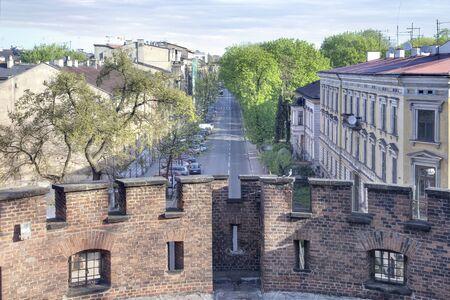 parapet wall: Krakow, urban landscape