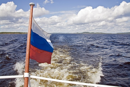 onega: Russian flag on the background of Lake Onega