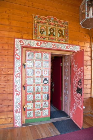sights of moscow: Palace of tsar of Aleksey Mikhailovich Romanov. Door with the princely coats of arms