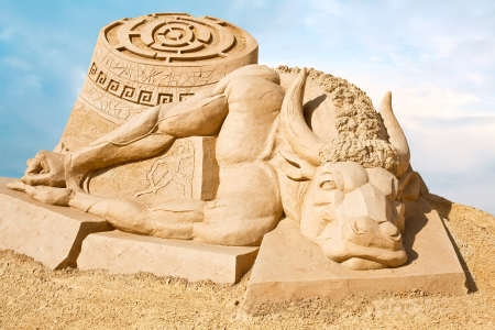 animal related: Sculpture from sand. Work of art, doomed to death from a rain and wind