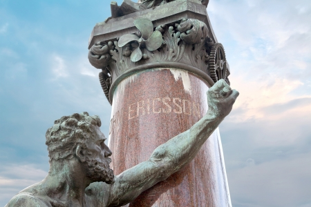 ericsson: Statue of the Swedish-American engineer and inventor John Ericsson, projecting a ship Monitor