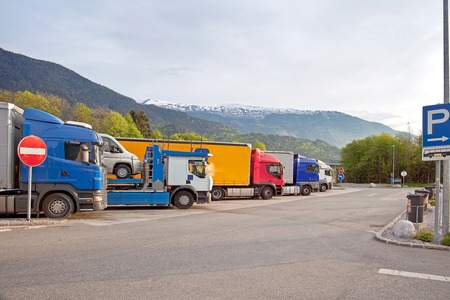 Stand of lorry-loads on parking  photo
