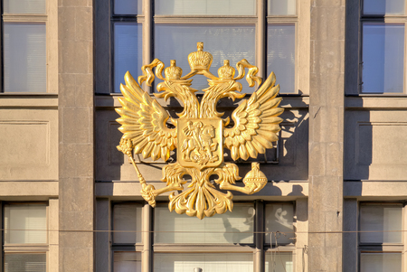 duma: Official symbol of Russia on the facade of building of State Duma