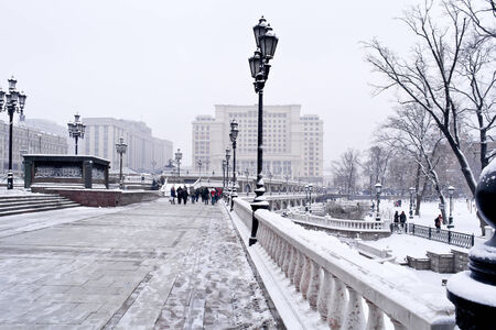 snowbound: A snow-bound area is in the center of city Moscow Editorial