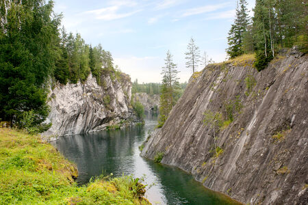 Marble canyon is in Karelia, Place of booty of marble is in 19 century photo