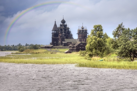 atmospheric: View ashore and the Orthodox temple island Kizhi after a rain