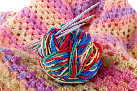 Female scarf and ball of threads photo
