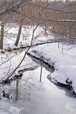 hydrology: Spring (hydrology) in winter Stock Photo