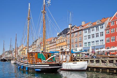 Denmark, Copenhagen, is May 03, 2013: Harbour of Nyhavn, main tourist sight of city