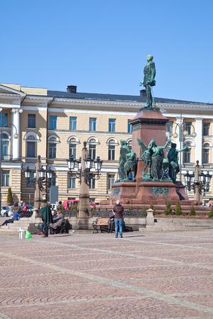 liberator: Helsinki, Finland - April 28, 2013  Historic Monument Russian Emperor Alexander II the Liberator on the Senate Square Editorial