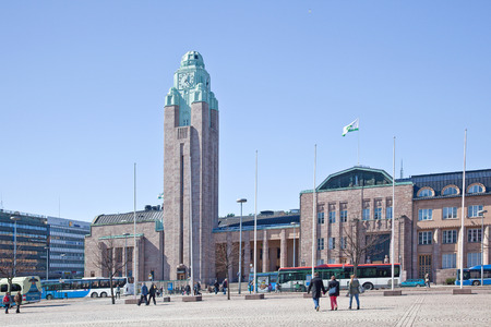 Helsinki, Finland - April 28, 2013  Building of the large railway station is in Finland