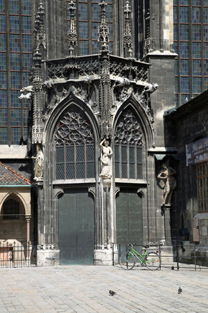 saint stephen cathedral: Founding of tower of cathedral of Saint Stephen with shut the door