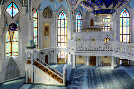 KAZAN, REPUBLIC TATARSTAN, RUSSIA - March 18, 2014: Interior of one of the greatest and reverent mosques of Qolsharif Editorial