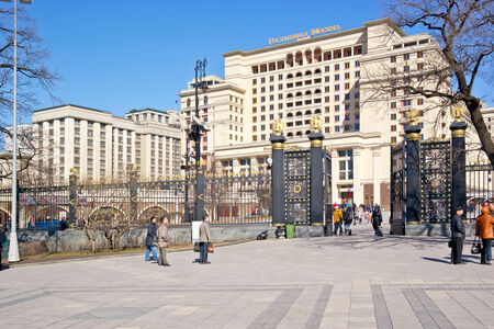 RUSSIA, MOSCOW - March 29,2014: Alexander Garden in the city center was founded in 1812 near the Kremlin