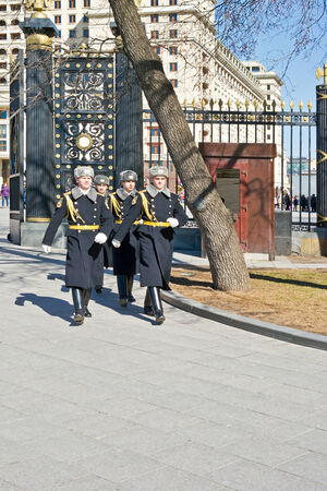 RUSSIA, MOSCOW - March 29,2014: Changing of the Honor Guard Ceremony at the Tomb of the Unknown Soldier at the Kremlin Wall on November 27, 2012 in Moscow, Russia. The Tomb is a world war II memorial.