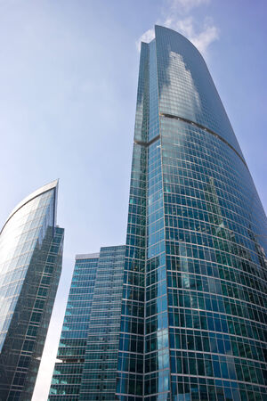 sights of moscow: RUSSIA, MOSCOW - April 10,2014: Towers of modern international exhibition complex Moscow-City
