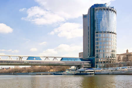 sights of moscow: RUSSIA, MOSCOW - January 27,2014: Footbridge over the River Moskva Bagration