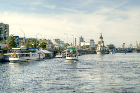 dnepr: UKRAINE, KIEV - May 10,2012: View of the Kiev city, town quay and the river Dnepr