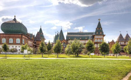 sights of moscow: MOSCOW, RUSSIA - August 18.2013: Restored ancient palace of Tsar Alexei Mikhailovich Romanov is in Kolomenskoye