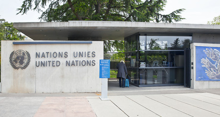 establishment states: SWITZERLAND, GENEVA - May 06.2014: Checkpoin in the Palais des Nations, which houses the United Nations office in Europe for the maintenance of peace and the protection of human rights Editorial