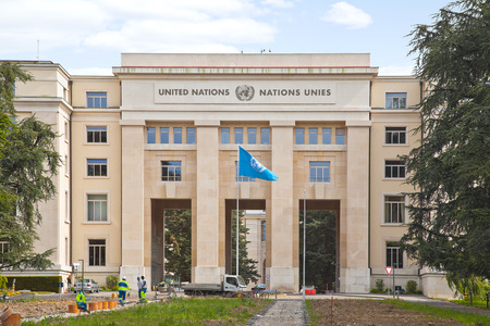 united nations: SUIZA, GINEBRA - mayo 06,2014: Palacio de las Naciones. Oficina de representación de las Naciones Unidas en Europa sobre cuestiones de mantenimiento del mundo y la protección de los derechos humanos