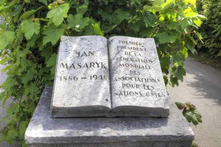 honored: SWITZERLAND, GENEVA - May 06.2014: Monument as an open book to the known Czech diplomat to Jan Масарику. A monument is set in a public garden near Area of Nations