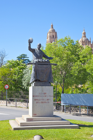SPAIN, SEGOVIA - May 03.2014: Monument to the famous chef prepares a surprisingly tasty piglets