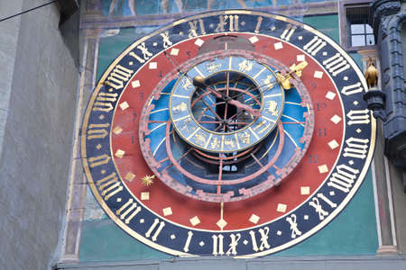 serviceable: SWITZERLAND, BERN - May 06.2014: Famous Zodiac watches Caspar Brunner. Clock was installed in 1530 and were the main clock in Bern Editorial