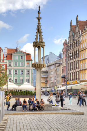 disgraceful: POLAND, WROCLAW - May 08.2014: Pillory on an square in the historical center of ancient city