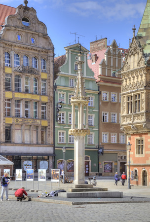 disgraceful: POLAND, WROCLAW - May 08 2014  Pillory on an square in the historical center of ancient city