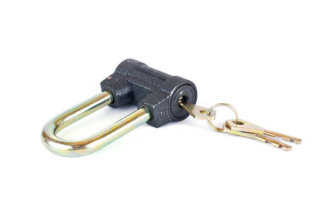 in copula: An economic lock with the copula of the keys is isolated on a white background
