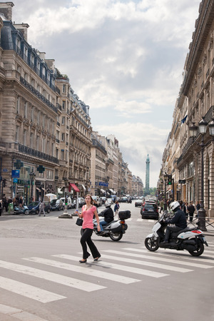 FRANCE, PARIS - May 03.2014: Squares and streets of historical center of ancient city.  Plaza Opera