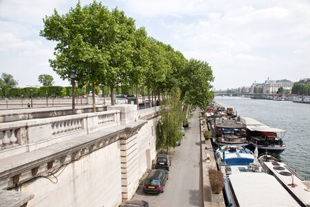 Embankment of river Seine near the park Tuileries photo