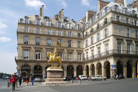 FRANCE, PARIS - May 03.2014: Ancient statue of Virgin of Orleans in the historic center of city