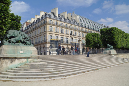 rivoli: FRANCE, PARIS - May 03.2014: Part of the palace and park complex Tuileries in the historic center of city